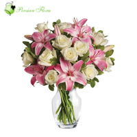 Glass Vase of  Rose, Lily