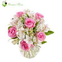 Glass Vase of  Rose, Alstremeria, Filler