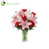 Glass Vase of  Rose, Lily, Tuberose (Maryam)