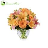 Glass Vase of  Rose, Gerbera, Lily, Carnation