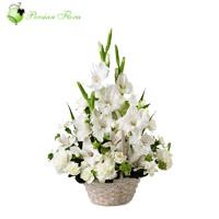 Basket of  Gladiolus, Carnation, Alstremeria