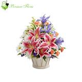 Basket of  Lily, Iris, Marguerite, Carnation