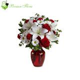 Glass Vase of  Lily, Rose, Carnation, Marguerite