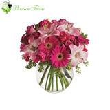 Glass Vase of  Lily, Rose, Gerbera, Carnation