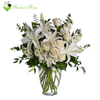Glass Vase of  Lily, Rose, Lisianthus, Tuberose (Maryam)