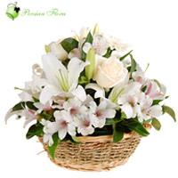 Basket of  Lily, Rose, Alstremeria