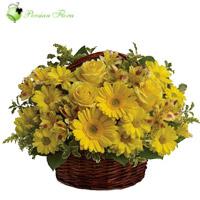 Basket of  Rose, Gerbera, Alstremeria