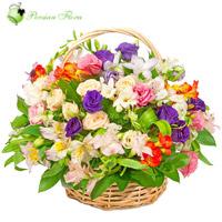 Basket of  Rose, Lisianthus, Alstremeria