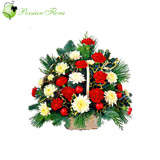 Wooden basket of Carnation, Chrysanthemum, Rose