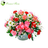 Glass Vase of Rose, Carnation, Marguerite