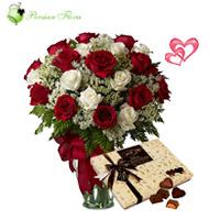 Glass Vase of  Rose, Filler, Pastry