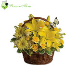 Basket of  Lily, Rose, Gerbera, Alstremeria, Filler
